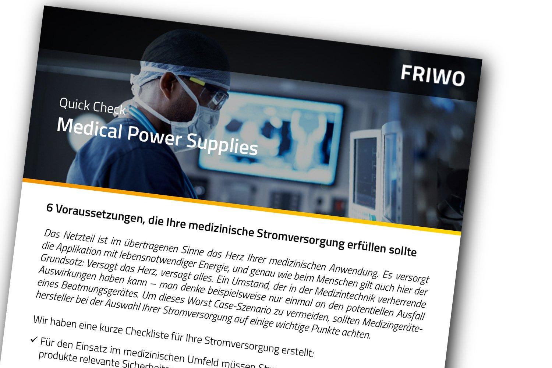 Checkliste mit 6 Voraussetzungen für Medical Power Supplies
